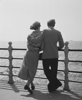 Couple Watching The Sea on Blackpool Promenade
