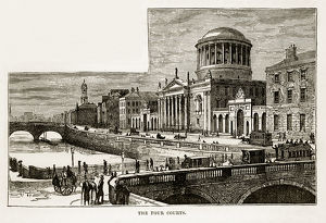 Four Courts in Dublin, Ireland Victorian Engraving, 1840
