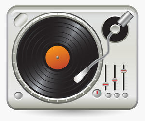 Digital illustration of record on record player