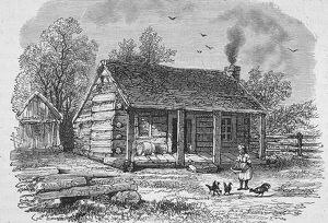 Drawing Of Abraham Lincoln's Birthplace, KY, 1860s.