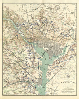 Early Map of the City and Capitol of Washington, D.C., United States, Antique American Illustration