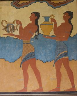 Greece, Crete, Knossos, Cup Bearers Fresco at Palace of Knossos