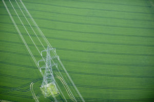 Electricity pylon in wheat field