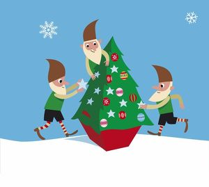 Three elves decorating a Christmas tree.