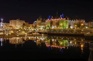 Empress Hotel at night in Victoria