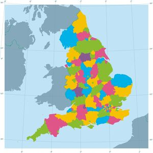 England Vector Map Colorful Administrative Divisions