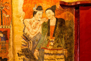 The famous mural painting walls in Wat Phumin, Nan province of Thailand