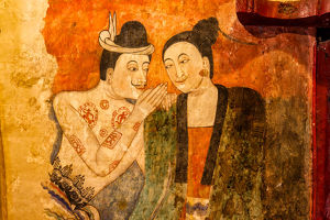 The famous mural painting walls in Wat Phumin, Nan province of Thailand.