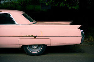 Fins of pink classic car