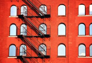 Fire Escape Of Red Building