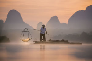 Fishing at Nong Talay in Krabi, Thailand in the morning