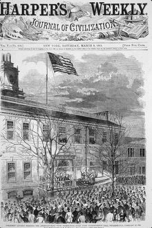 US Flag Above Independence Hall, PA, 1861.