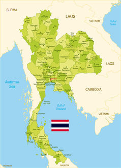 Flat map of Thailand with flag
