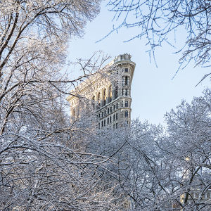 Flatiron Building under snow, New York