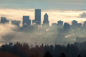 Fog Over Portland Oregon Downtown