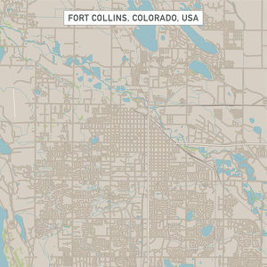Fort Collins Colorado US City Street Map