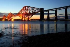 Forth Rail Bridge at dusk, from South Queensferry