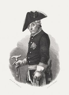Frederick the Great (1712-1786), Prussian king, steel engraving, published 1868