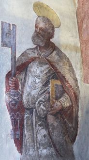 Fresco of Saint Peter with the three keys from the 16th century, St. Egidien, Beerbach