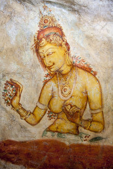 Frescoes depicting a bared chested woman