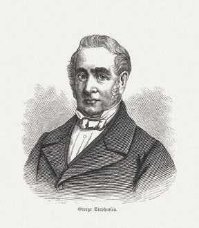 George Stephenson (1781-1848), wood engraving, published in 1880