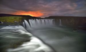 global landscape views/fred concha photography/godafoss waterfall sunset iceland