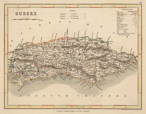 Hand coloured antique map of Sussex England