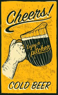 Hand holding beer pitcher with text phrases retro poster design