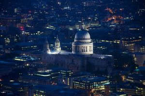 High Angle View Of Illuminated St Paul Cathedral In City At Night