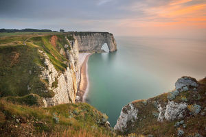 global landscape views/fred concha photography/high angle view rocky cliff sea etretat normandy