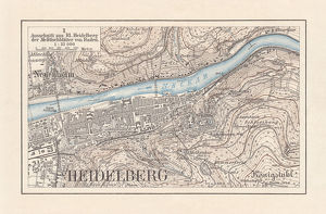 Historical city map of Heidelberg, Baden-WAOErttemberg, Germany, lithograph, published