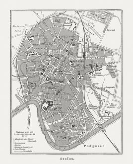 Historical city map of Krakow, Poland, wood engraving, published 1897