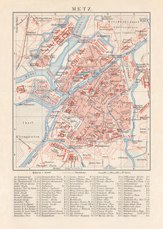 Historical city map of Metz, France, lithograph, published in 1897