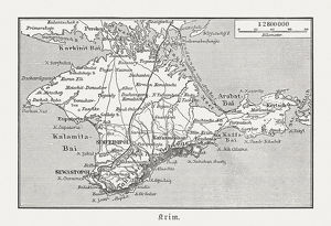 Historical map of Crimea (Ukraine/Russia), wood engraving, published in 1897