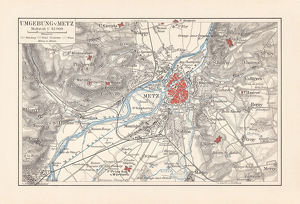 Historical map of Metz and surrounding, France, lithograph, published 1897