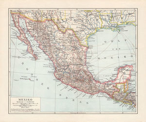 Historical map of Mexico, lithograph, published in 1897