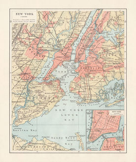 Historical map of New York City, USA, lithograph, published 1897