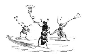 Humanized animals illustrations: Insects with trumpet flowers