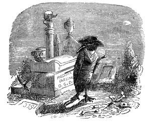 Humanized animals illustrations: Crow in cemetery