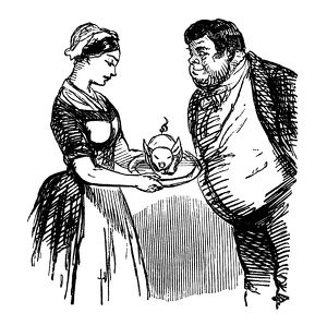 Hungry Victorian man anticipating a suckling pig for dinner