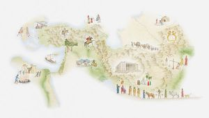 Illustrated map of ancient Persia
