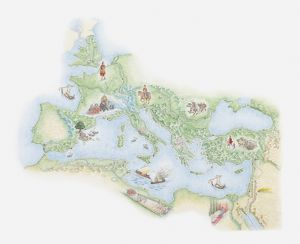 Illustrated map of Roman Empire, BC