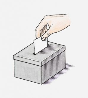 Illustration of hand placing voting slip in ballot box