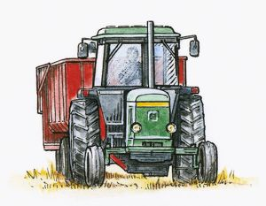 Illustration of man driving tractor pulling a trailer in field