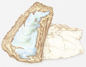 Illustration of opal in rough form
