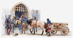 Illustration of peasants arriving at a medieval castle to buy and sell in the courtyard