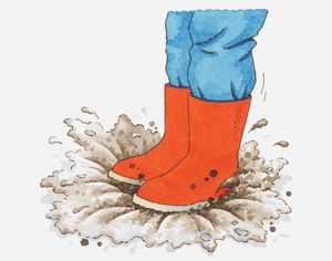Illustration of person in red wellington boots stepping into puddle of mud