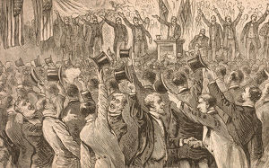Illustration of Republican National Convention, Chicago, IL, 1884.