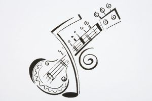Illustration, sitar and musical note