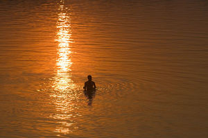 India, Goa, swimmer silhouetted in water, elevated veiw